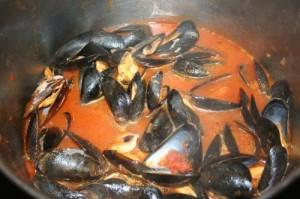 Rezept für frische Miesmuscheln in tomatisiertem Rieslingsud