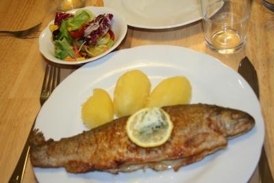 Forelle Müllerin Art mit Salzkartoffeln, Salat und brauner Butter